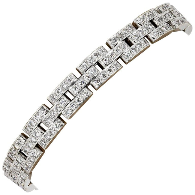 Cartier Maillon Panthere Diamond Gold 3 Row Bracelet