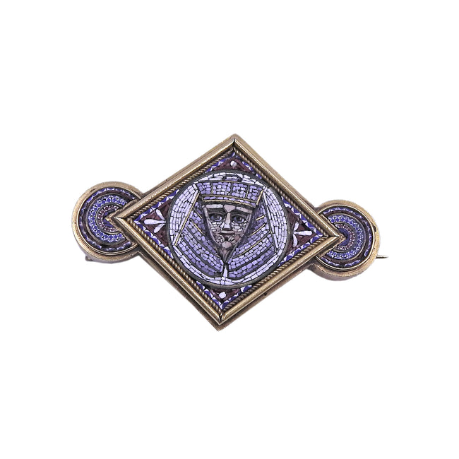 Gold Micro Mosaic Pharaoh Brooch Pin