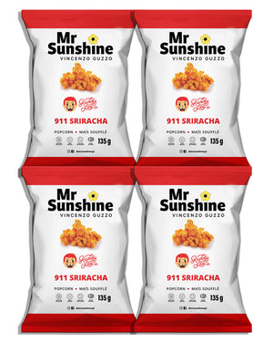 MR SUNSHINE x RUDDY LAD SRIRACHA POPCORN PACK OF 4 FAMILY SIZE BAGS