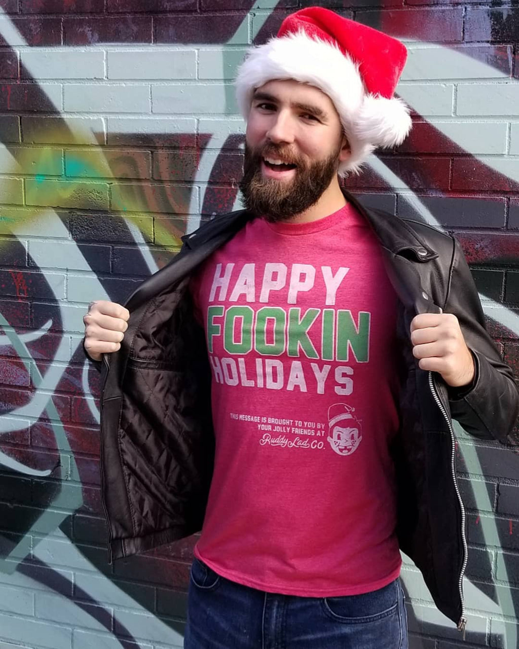HAPPY FOOKIN HOLIDAYS - HEATHER RED
