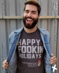 HAPPY FOOKIN HOLIDAYS - DARK HEATHER GRAY