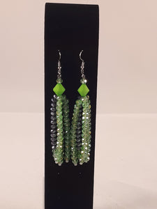 Multiple strands crystal earrings
