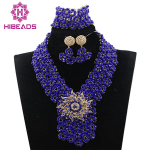 Fantastic Blue Bridal Jewelry Set Indian African Wedding Beads Jewellery Set Nigerian Bride Jewelry Set Free Shipping WD575