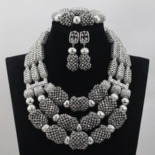 Silver African Beads Jewelry Set Silver Crystal Bride Nigerian Wedding Women Costume Jewellery Set 2017 Free Shipping WD619