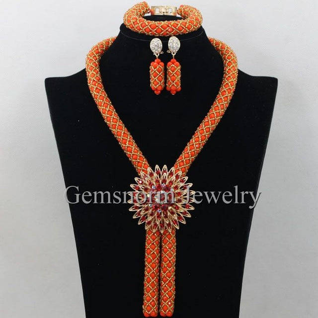 Gorgeous Coral Nigerian African Beads Jewelry Set Dubai Gold Wedding Jewelry Set Wholesale Price Beads Set Free shipping WB747