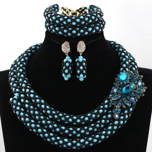 Sky Blue Silver African Chunky Beads Jewelry Sets Fashion Nigerian Wedding Jewelry Sets Women New Free Shipping WD924