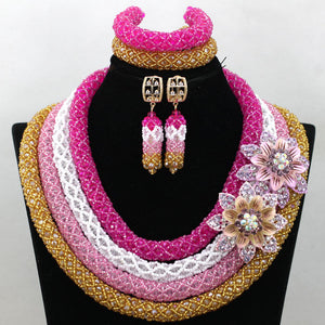 Luxury Champagne Gold Nigerian Wedding Bride African Beads Jewelry Set Dubai Indian Bridal Jewelry Set Queen Free shipping WA949