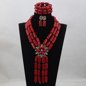 Luxury Pink Coral Beads Full Beads Bridal Jewelry Sets African Nigerian Women Pink Jewellery Set Gift Free Shipping CNR760