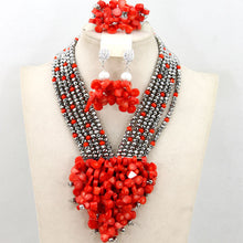 Free Shipping 2017 New Nigerian Wedding African Beads Jewelry Set Red/Gold Indian Bridal Jewelry Set  WB437