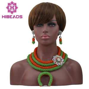 Fantastic Orange and Lime Green Nigerian Wedding Costume Bridal Jewelry Set Women Style African Fashion Bead Free Shipping WD350