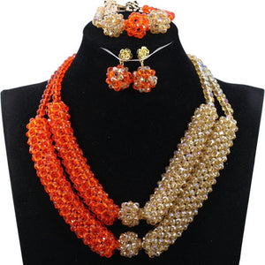 Fashion Orange Gold Crystal Statement Necklace Set Wedding African Beads Women Jewellery Set Nigerian Brides Free Shipping WE020