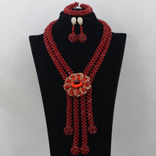 Red Nigerian Wedding African Beads Jewelry Set Crystal Beads New Women African Costume Jewelry Set Free Shipping WD024