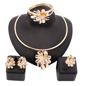 Women Gold Color Nigerian Wedding African Beads Jewelry Set Crystal Saudi Jewelry Sets Bangle Earring Ring Flower Jewelry Set