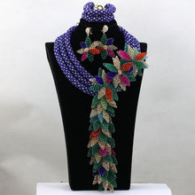 Luxury Purple Beads Nigerian Wedding African Jewelry Sets for Brides Women Flower Jewellery Set Free Shipping WD974