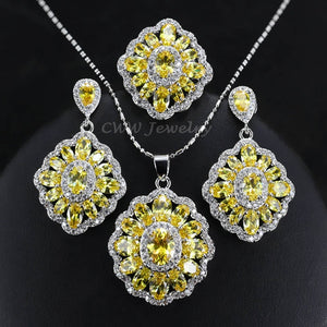 CWWZircons Cubic Zirconia Indian Silver 925 Jewelry Sets For Women MultiColored Big CZ Ring Necklace And Earring Ladies T261