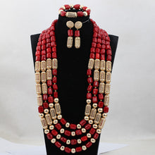 African Red Beaded Statement Necklace Set Wedding Nigerian Jewelry Set for Party New Free Shipping CNR780