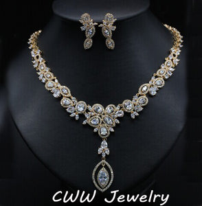 CWWZircons African Nigerian CZ Wedding Jewelry Clear Cubic Zirconia Crystal Bridal Necklace Earrings Sets For Wedding T077
