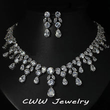 CWWZircons Luxury Wedding Jewellery Nigerian Design Cubic Zirconia Large Bridal Choker Necklace Earrings Sets For Women T152