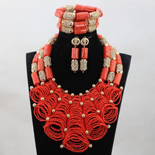 Luxury Nigerian Wedding Coral Beads for Brides Queen Bridal Party African Jewelry Sets New Free Shipping CNR784