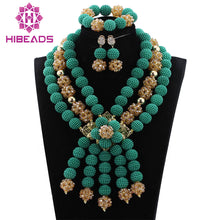 Teal Costume Jewelry Set Nigerian Wedding African Beads Jewelry Set Green/Gold Bib Statement Necklace Set Free Shipping WD385