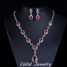 CWWZircons African Design Elegant Round Drop Cubic Zirconia Bridal Red Jewelry Sets Wedding Accessories For Women T113