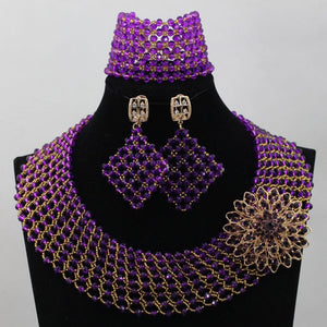African Red Beads Jewelry Set 2017 Nigerian Wedding Crystal Jewlery Set Fashion Women Necklace Set Free Shipping WD191