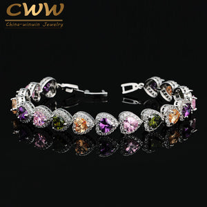 CWWZircons Romantic Women Holiday Gift Jewelry Multi Colored Heart Shaped Cubic Zircon Bracelet & Bangle For Wedding CB167
