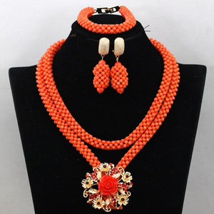 2017 Coral Nigerian Beads Jewery Set African Coral Beads Jewelry set Quality Necklace Set Free Shipping CNR515