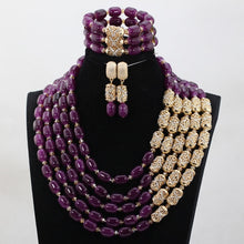 Amazing Fuchsia Pink Nigerian Wedding Gold Beads Jewelry Sets African Brides Gift Necklace Bracelet Earrings Set Free Ship WD958