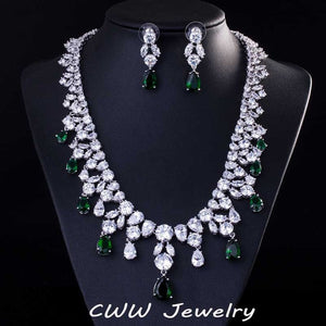 CWWZircons Top Quality Big Water Drop African Cubic Zirconia Beads Necklace Women Wedding And Engagement Jewelry Sets T195