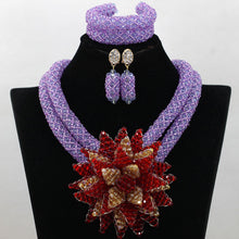 Fashion African Wedding Beads Jewelry Set Lilac  Purple Crystal Nigerian Beads Necklaces Bracelet Earrings Free Shipping WA748