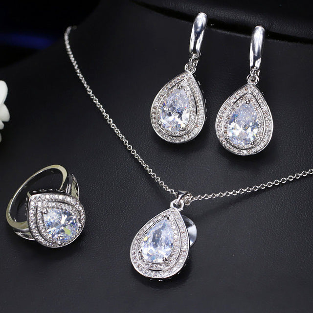 CWWZircons Trendy Attractive Champagne Yellow Water Drop Cubic Zirconia Crystal 925 Sterling Silver Jewelry Set For Women T147