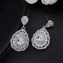 CWWZircons 3 layers Cubic Zirconia Stone Rose Red Water Drop Crystal High Quality Earring For Women Wedding Bridal Jewelry CZ122