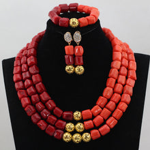 Nigerian Wedding African Coral Beads Jewelry Set Coral Necklace Earrings for Women Bridal Statement Jewelry Free Shipping CNR823