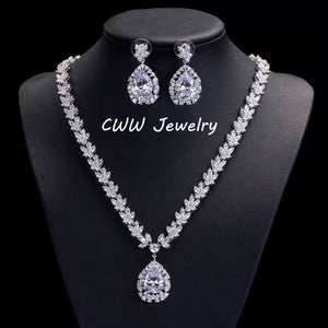 CWWZircons Gorgeous Bridal Accessories Luxury African Nigerian Big Pear Drop CZ Wedding Party Jewelry Sets For Brides T112