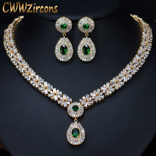 CWWZircons Top Quality Yellow Gold Color Green African Cubic Zirconia Beads Bridal Wedding Jewelry Sets For Wedding Brides T097