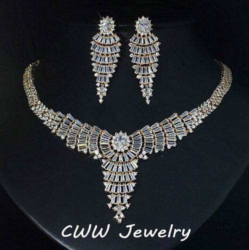 Gold Color African Cubic Zirconia Wedding Jewelry Sets Large Tassel Drop Women Necklace And Earrings Set For Evening Party T204