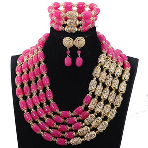 Luxury Nigerian Wedding Women Jewelry Sets Royal Blue Beaded Costume Party Jewellery Sets New Jewelry Accessory WE023