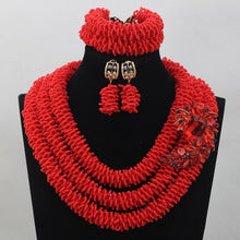Amazing Red Seed Beads Bridal Indian Jewelry Set for Women Wedding Nigerian African Beads Jewlery Set Hot Free Shipping WD721