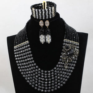 Latest Gold Black Women Nigerian Wedding Beads Jewelry Set Crystal African Beaded Necklace Set Party Neckpiece Jewelry WD152