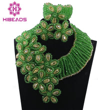 Fantastic Green Nigerian Wedding Crystal Beads Jewelry Set Flower Falls Crystal Bridal Women Jewellery Set Free Shipping WD968