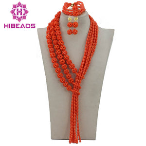 Gorgeous Nigerian Wedding Coral Beads Jewelry Set 2017 New Pink Coral Bridal African Jewelry Sets Hot CNR183