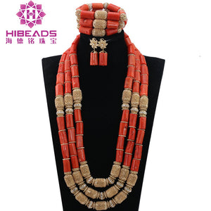 Luxury 3 Layers Nigerian Wedding Coral Beads Jewelry Sets African Bridal Coral Necklace Bracelet Earrings Free Shipping CNR824