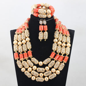 Big Nigerian Wedding African Beads Jewelry Sets Coral Fashion Dubai New Jewelry Sets For Women Free Shipping CNR749
