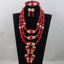 Fabulous Wine Red Coral African Wedding Beads Jewelry Set Original Traditional African Nigerian Coral Bead Necklace Set CNR833