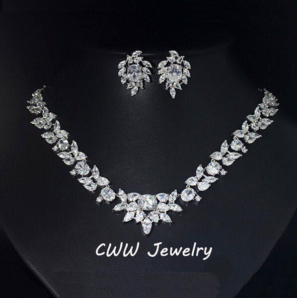 CWWZircons Brand African Nigerian Cubic Zirconia Bridal Necklace Wedding Accessories Jewelry Sets For Brides  T198
