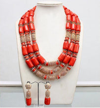 Traditional African Wedding Original Coral Beads Jewelry Set Dubai Gold Party Bridal African Nigerian Beads for Women CNR842