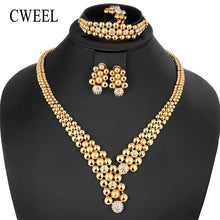 CWEEL Jewelry Sets Women Dubai Indian Jewelry Sets Round Ethiopian Wedding African Beads Jewelry Set Gold Color Jewellery Set