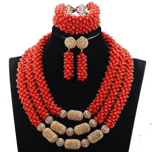 2017 New African Red Beads Jewelry Set Nigerian Wedding Crystal Pendant Statement Necklace Set Brides Free Shipping WE052