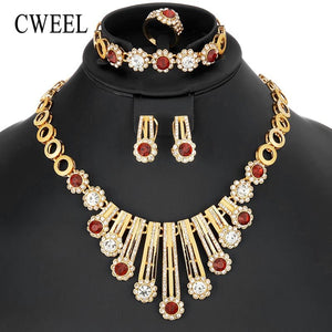 CWEEL Jewelry Sets Luxury Wedding Jewelry Sets Necklace Gold Color Ethiopian African Beads Jewelry Set Women Jewellery Set